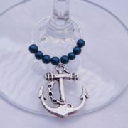 Anchor Wine Glass Charm - Beaded Style